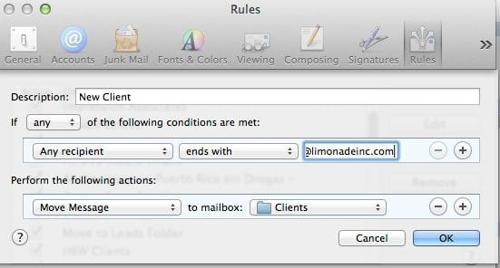 Email Rules and Mailboxes in Mac